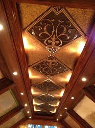 wood ceiling tiles beautiful coffer ed ceiling with stained wood and faux tin ceiling tile in