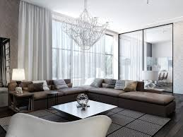 Modern Living Room With Brown Leather Sofa Living Room Living Room Elegant Living Room Decorating Ideas Brown