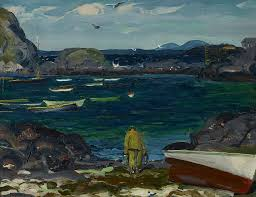 george bellows painting the harbor monhegan coast maine by george bellows