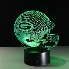 novelty nfl green bay packers football helmet illusion led night light colorful hologram 3d desk lamp for gifs in night lights from lights