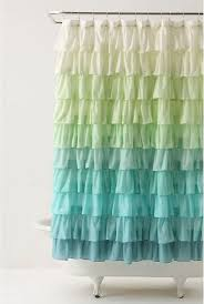 ombre blue ruffled shower curtain