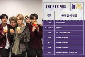 New york (cnn business) mcdonald's is partnering with bts, the massively popular korean pop band, for its next celebrity meal — and this time it's going global. Mcdonald S Releases Bts Meal Launch Party Schedule It Feels Like A Bts Comeback Swahili Seven