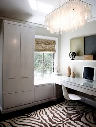 modern design home office. Office:White Minimalist Home Office With White Floating Desk Under Modern  Chandelier Enjoy Working In Modern Design Home Office