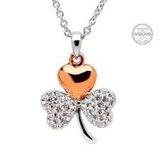 shanore shamrock pendant with rose gold plate and crystals 109 00