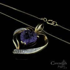 9ct gold amethyst diamond set heart pendant