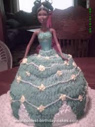Cute Homemade Barbie Doll Blue Birthday Cake Idea