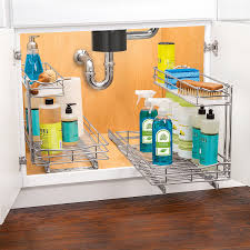 com lynk professional roll out under sink cabinet organizer pull out two tier sliding shelf chrome multiple sizes home kitchen