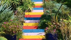 the painted risers are a focal point at paloma gardens near whanganui