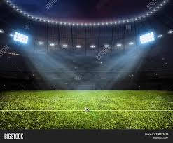 grass soccer field with goal. 3d Rendering Of Sport Concept Background - Soccer Footbal Stadium With Floodlights. Grass Fooball Pitch Field Goal
