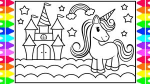 How To Draw A Unicorn Castle For Kids Unicorn Castle