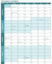 Week Wise 2018 Calendar Excel Calendar Template Excel