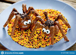 Halloween Treat Idea For Kids Scary Chocolate Spider Cakes Stock