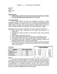 college syllabus template freshman composition syllabus template and sample course schedule