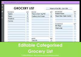 Blank Grocery List Template Editable Shopping Sample – Apptality
