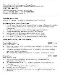 Sample Resume For Business Manager International Business Management
