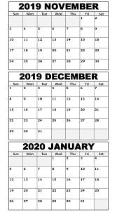 November 2019 To January 2020 Calendar Template 2019