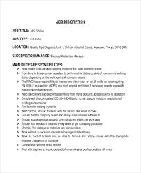 mig welder job description template description of a welder