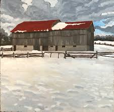 red roofs landscape oil painting