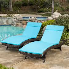 new blue cushion pads waterproof for outdoor patio chaise lounge chairs set of 2