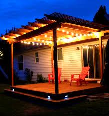 pergola lighting ideas. Home Lighting, Mesmerizing Wood Pergola Deck With Wraparound Step And Strand Lighting It Light Ideas
