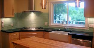 Frosted Sage Green Glass Subway Tile Kitchen Backsplash - Natural kitchen  with modern flair