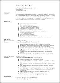 Special Ed Teacher Resume Awesome Free Creative Special Education
