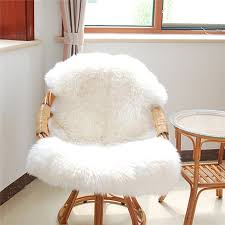 soft sheepskin chair cover warm carpet seat pad plain skin fur
