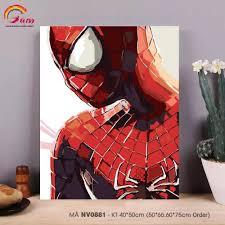 Tranh tô màu theo số sơn dầu số hóa Gam Tranh siêu anh hùng Marvel Người  nhện Spider man mã NV0881