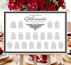 Printable Seating Chart For Wedding Reception Wedding Seating Chart Poster Anna Maria Black White Print Ready Digital File