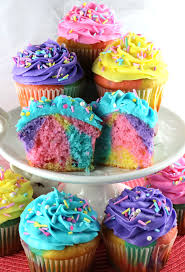 colorful cupcakes.  Cupcakes Celebration Marble Cupcakes  A Beautiful And Colorful Cupcake That Would  Be Great Easter Dessert For Colorful