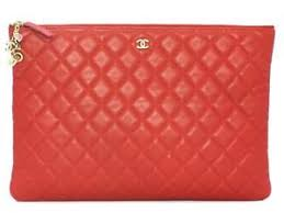 CHANEL Clutch Pouch bag with charm Red Lambskin leather Quilted CC ... & Image is loading CHANEL-Clutch-Pouch-bag-with-charm-Red-Lambskin- Adamdwight.com