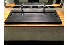 1400mm black granite double trough