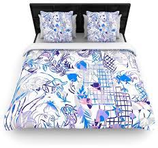 gabriela fuente she blue white cotton duvet cover queen 88 x88