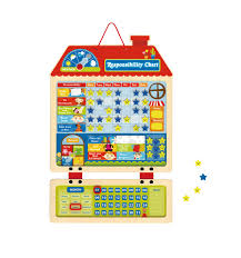 Toysters Wooden Magnetic Responsibility Chart For Kids Monthly And Daily Behavior Calendar Chore Chart Also Functions As A Dry Erase Board