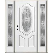 reliabilt hampton oval lite decorative glass right hand inswing fiberglass prehung entry door with sidelights and insulating core common 60 in x 80 in