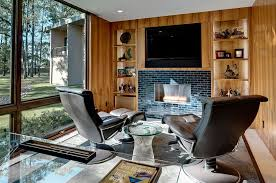 Home office technology Wall Home Office With Hidden Tv Above The Fireplace design Linda Fritschy Interior Design Stefan Didak 40 Gorgeous Ideas For Sizzling Home Office With Fireplace