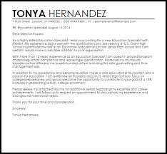 Sample Education Cover Letters Education Specialist Cover Letter Sample Cover Letter
