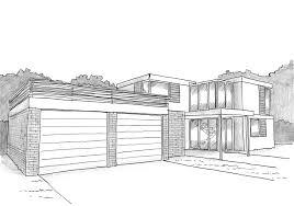 esquisse 3d plan de villa contemporaine