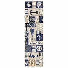 area rug runner ocean print nautical carpet anchor multi colored