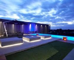 outdoor pool lighting. Modern Backyard Ideas With Long Swimming Pool Using LED Outdoor Lighting
