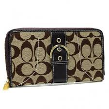 Order Coach Buckle In Signature Large Coffee Wallets AXF