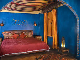 traditional blue bedroom ideas. Bedroom : Best Traditional Moroccan Design Ideas With Blue Plain Painte Wall And Red Comfortable Blanket Also Brown Rectangle Textured Wood