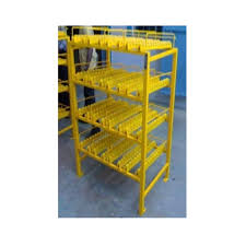 yellow storage rack with roller track