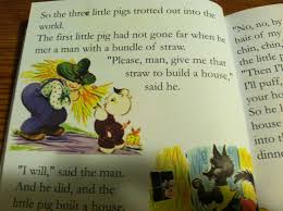 in this book version recreated from the junior elf version in i believe 1957 the mother pig can not afford to keep her three sons and sends them off into