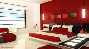beautiful-red-bedroom-design-with-red-wall -paint-two-pendant-lamp-black-headboard-red-bed-and-white-quilt-with-sleek-floor  | DWEEF.