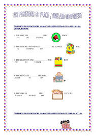 PREPOSITIONS OF PLACE, TIME AND MOVEMENT   prepositions ...
