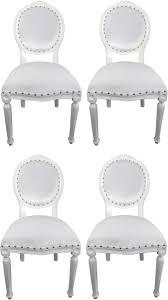 Casa Padrino Luxus Barock Esszimmer Set Medaillon Weiß 50 X 52 X H 99 Cm 4 Handgefertigte Esszimmerstühle Barock Esszimmermöbel