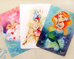 Cute Girls Postcards Set Illustrated Postcards Thank You Note