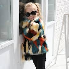 handsome kids baby girls winter faux fur coat