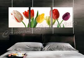 2018 home decor canvas paintings art 3 panel wall art painting flowers framed art prints tulips flower painting wall pictures for the home from
